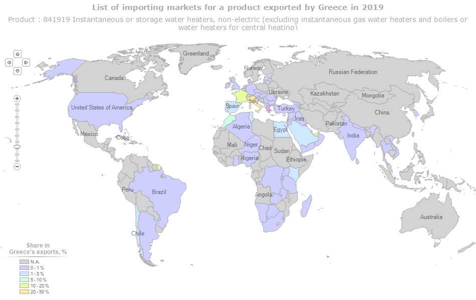 Target Countries for Greek SWH Exports